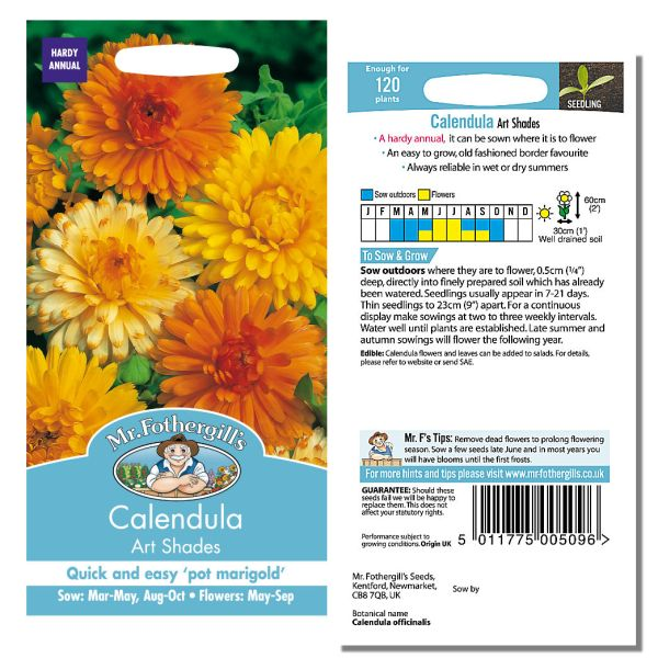 Mr. Fothergill Calendula Art Shades Seeds available from Strawberry Garden Centre, Uttoxeter