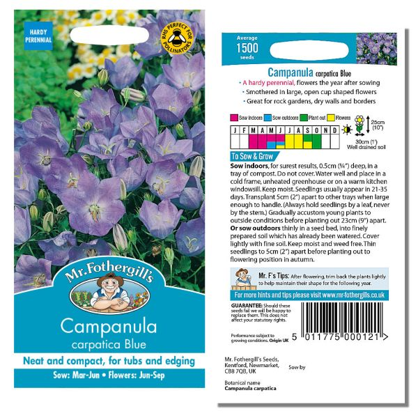 Mr. Fothergill Cornflower Carpatica Blue Seeds available from Strawberry Garden Centre, Uttoxeter