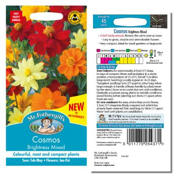 Mr. Fothergill Cosmos Brightness Mixed Seeds available from Strawberry Garden Centre, Uttoxeter