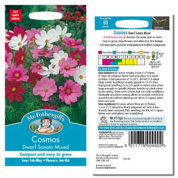 Mr. Fothergill Cosmos Sonata Mixed Seeds available from Strawberry Garden Centre, Uttoxeter