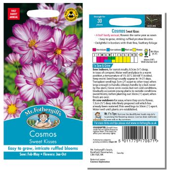 Mr. Fothergill Cosmos Sweet Kisses Seeds available from Strawberry Garden Centre, Uttoxeter