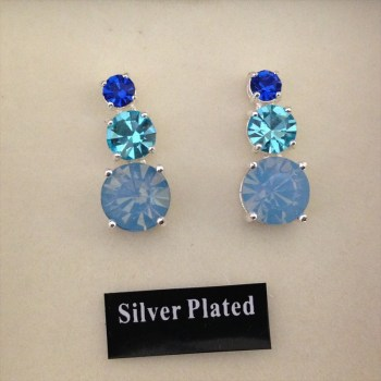 Equilibrium 274391 Silver Plated Blue Crystal Earrings available from Strawberry Garden Centre, Uttoxeter