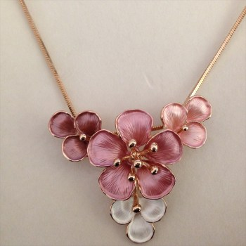 Equilibrium 274552B Rose Gold Plated Dusky Tones Flower Necklace available from Strawberry Garden Centre, Uttoxeter