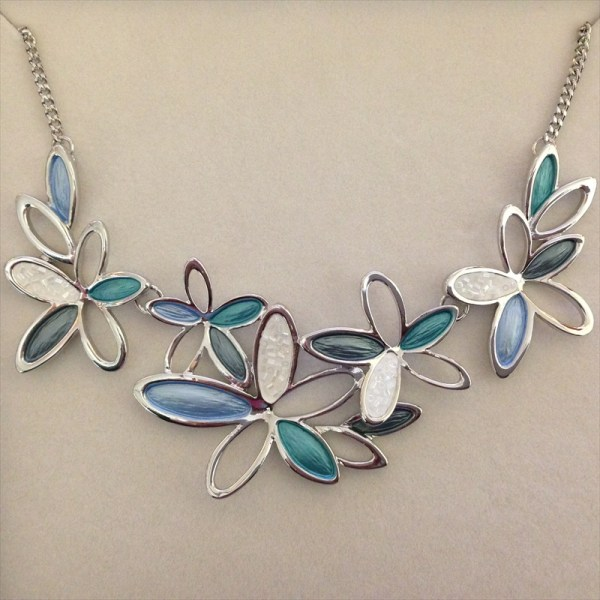 Equilibrium 274562A Marine Tones Flower Necklace available from Strawberry Garden Centre, Uttoxeter