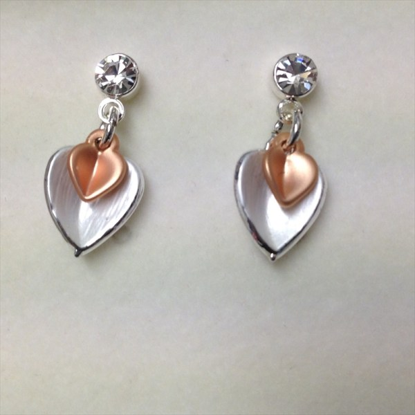 Equilibrium 274680 matt rose gold plated and silver plated heart earrings available from Strawberry Garden Centre, Uttoxeter