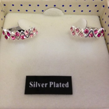 Equilibrium 274721 silver plated 4 shades pink hoop earrings available from Strawberry Garden Centre, Uttoxeter