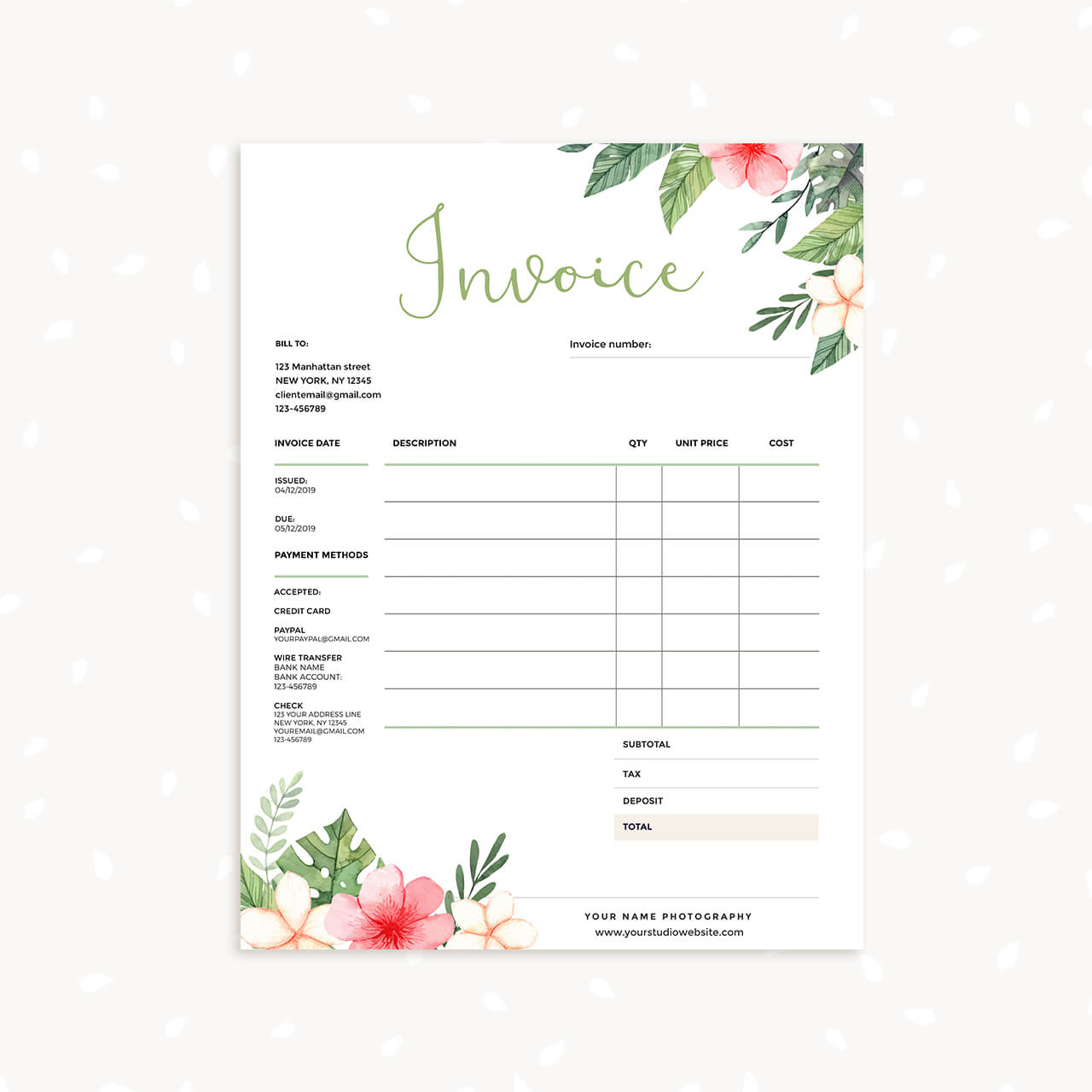 Floral Invoice Template Strawberry Kit