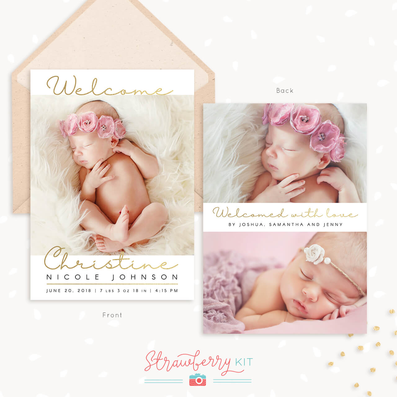 Gold Handwriting Birth Announcement Template
