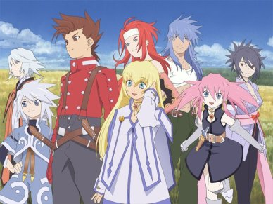 Tales of Symphonia's cast hangin' out.