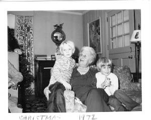 Margaret Strawbridge with Great-great-nephews Henry and Robin White 1972