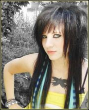 scene hairstyle long emo hair hint of color cute