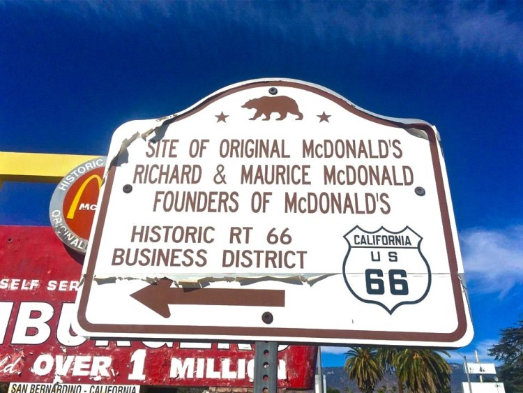 The founder of the Juan Pollo restaurant chain bought this property, which just happens to be the site of the world's first McDonald's, in a foreclosure sale and turned it into a McDonald's/Juan Pollo/Route 66 museum.