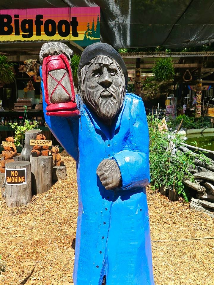 This roadside attraction/gift shop sells wood carvings and snacks.