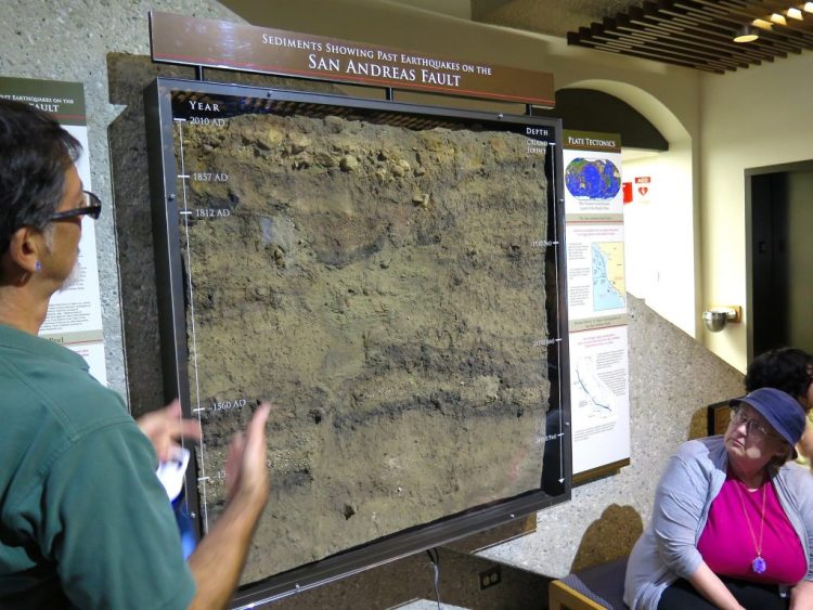 A segment from the Pallett Creek trench, the first place where scientists realized that they could trace and date ancient earthquakes in an effort to predict future quakes.