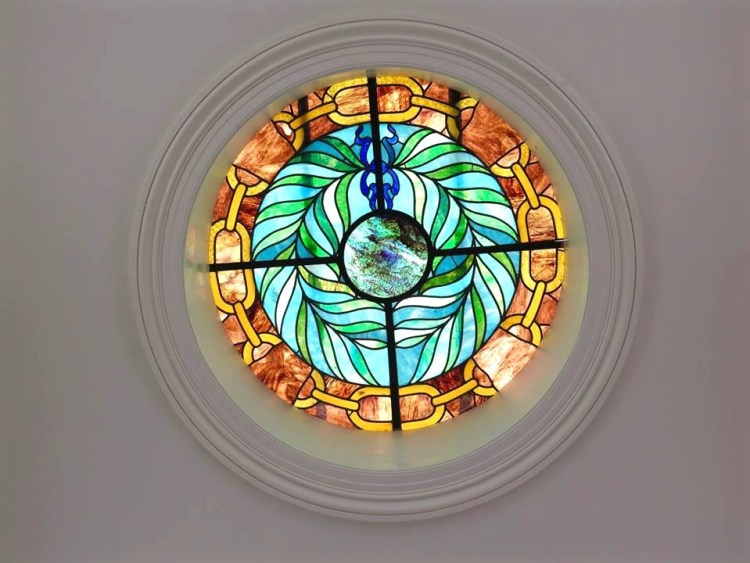 Stained glass window inside the main mausoleum.