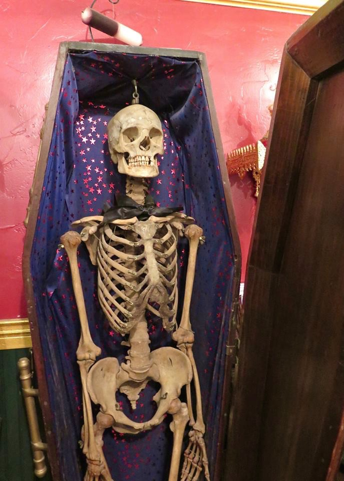 This is Lefty, the shops 1880s-era skeleton, in his beautiful redwood coffin. They don't know what his name was in life, but they do know that he was a Caucasian man, about 5 feet 4 inches tall, who was between 20 and 35 when he died. He probably succumbed to an infectious disease, since his skeleton is unmarked by injury in any way. He was mounted as a medical skeleton for the use of student-doct... See More