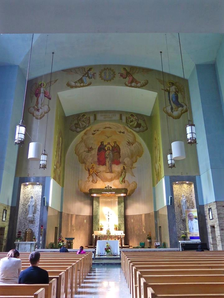 Inside, the chapel seats 500 people. Warm marble walls, Arizona sandstone floors, woodwork of Korina, Swedish marble, mosaics, graceful statues and murals embrace all who enter.