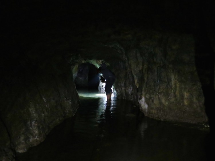There's about a foot of water at the beginning of the mine...