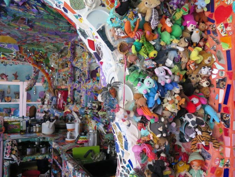 Beanie Babies, mostly donated by children who have visited, fill the dining room wall.