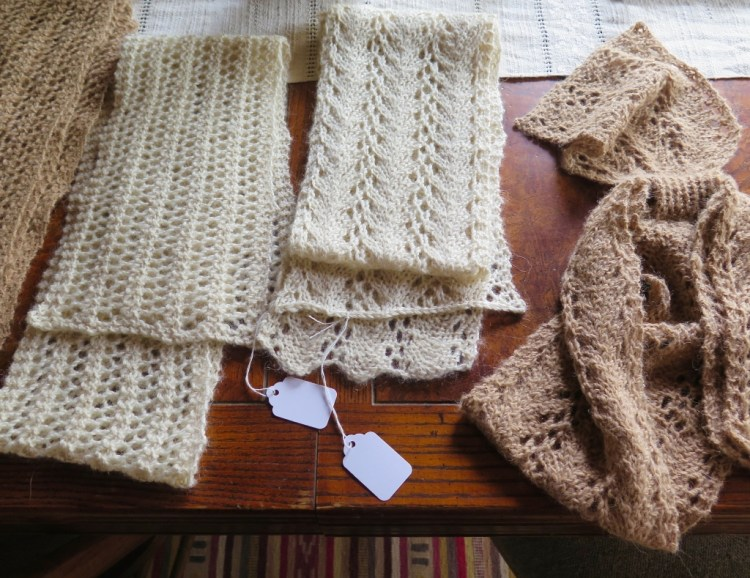She often knits and crochets the yarn herself.