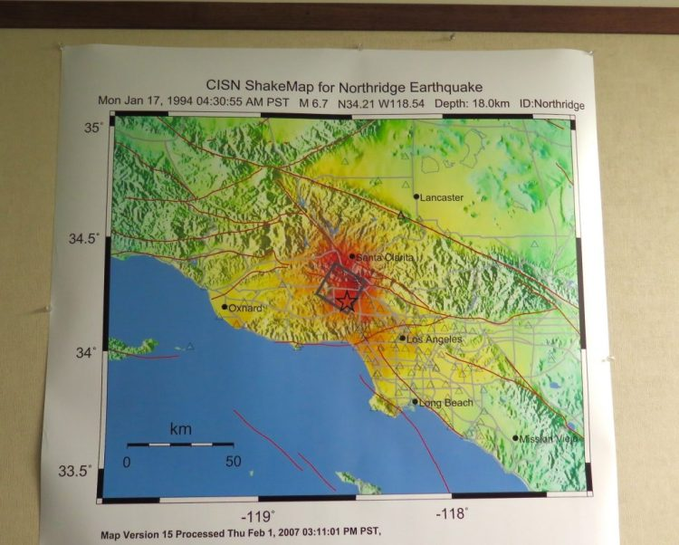 ...others measuring the distance and amount of shaking that was felt during the Northridge quake...