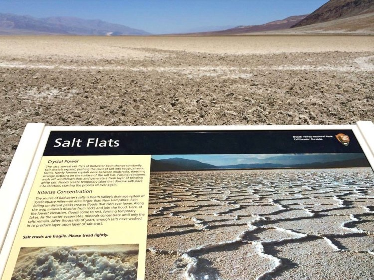 The salt flats in Badwater Basin cover nearly 200 square miles, among the largest protected salt flats in the world. Sodium Chloride—better known as table salt—makes up the majority of salts on Badwater Basin. Other evaporative minerals found here include calcite, gypsum, and borax.