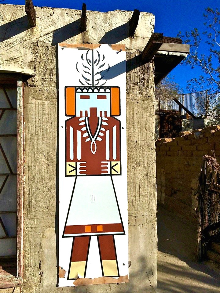 On his travels throughout the country, Cabot Yerxa became entranced by the architecture and the Kachina of the pueblo dwellers. When he built the sprawling structure he painted Kachinas on the exterior walls of his home.