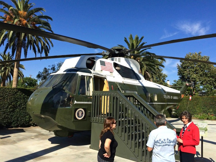 "Nixon's helicopter, which seats sixteen and cost a million dollars to construct in 1960, is a six-ton Sikorsky VH 3A ""Sea King"" model, bureau number 150617."