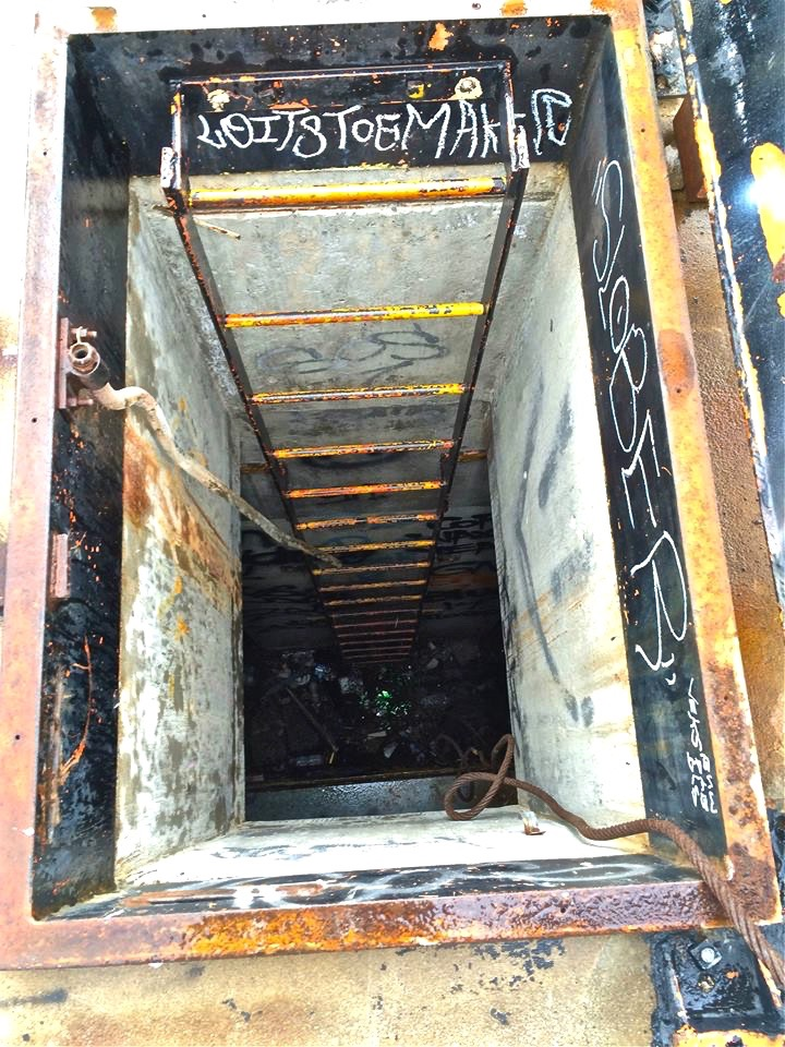 One of the many escape hatches (all welded shut of course) found within the underground launch area.