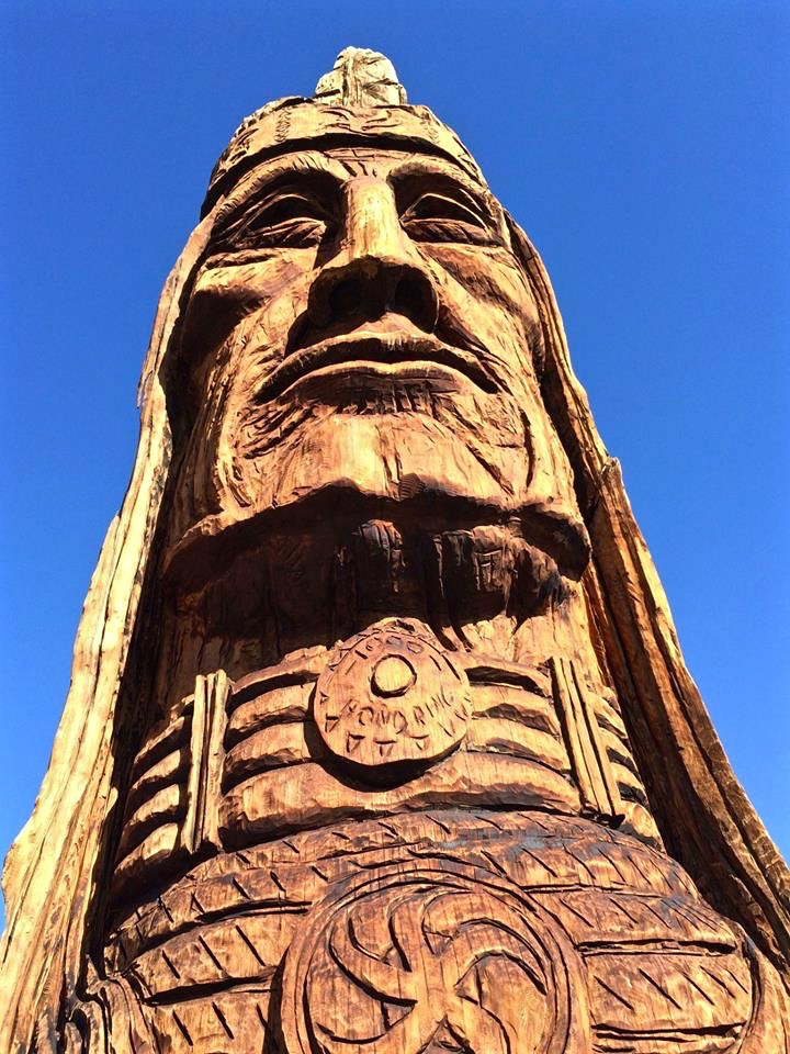 "A later addition to the site is that of the Waokiye, or ""traditional helper"" in the Lakota language. Waokiye is the twenty-seventh sculpture in a series of 74 giant Native American heads, collectively known as the Trail of the Whispering Giants, carved during a twenty-one-year period by artist Peter Wolf Toth."