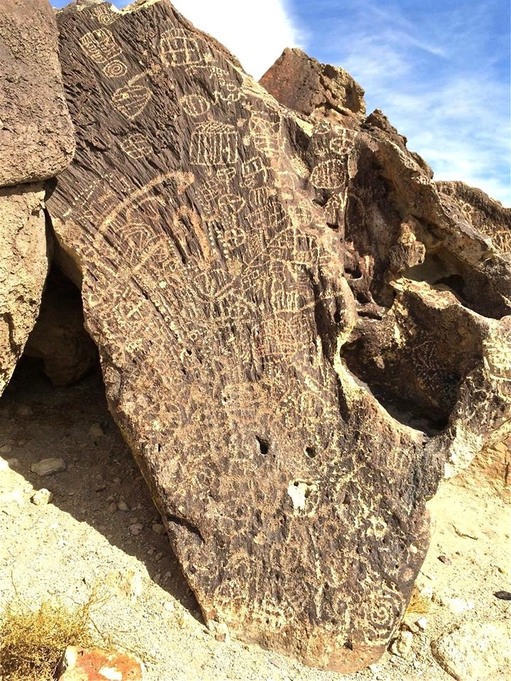 The Fish Slough site has a few dozen petroglyphs, all are entoptic patterns; geometric designs perceived during the first stage of a shaman's altered state of conciousness.