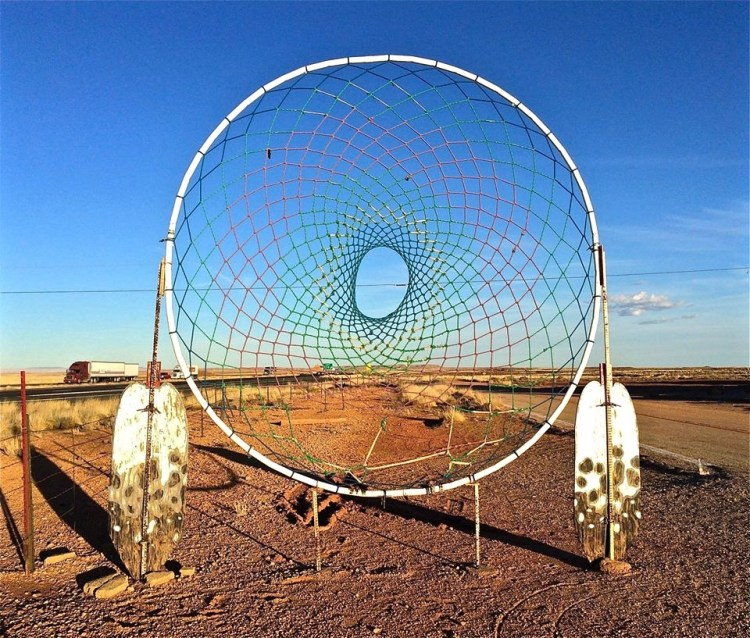 "Once billed as ""The World's Largest Dreamcatcher"", this Route 66 treasure can still be seen while driving by on I-40."