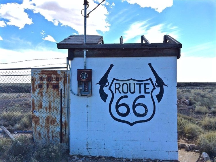Take any exit along former Route 66 in Arizona and you're bound to run into something forsaken and crumbling. The assortment of derelict stone buildings found east of Flagstaff are a perfect example.