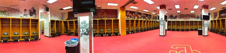 The Trojans locker room is rather spacious and with no obstructions in the way, fosters better communication between team members.