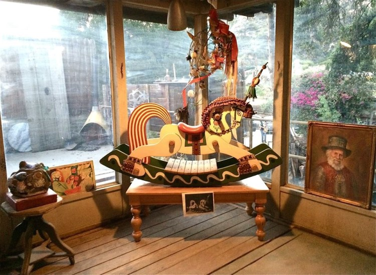 """Also in the gallery was this ornate rocking horse, carved and painted by Zorthian himself and used by a stripper one night back in July 15, 1952 to entertain jazz legend Charlie """"Bird"""" Parker ."""