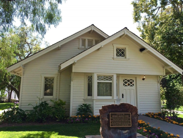 ...and home of Richard Nixon sits on the library grounds. The California Bungalow style residence was built by his father, Francis A. Nixon, on the family ranch in Yorba Linda. He built it in 1913, from a catalogue's mail order home building kit.