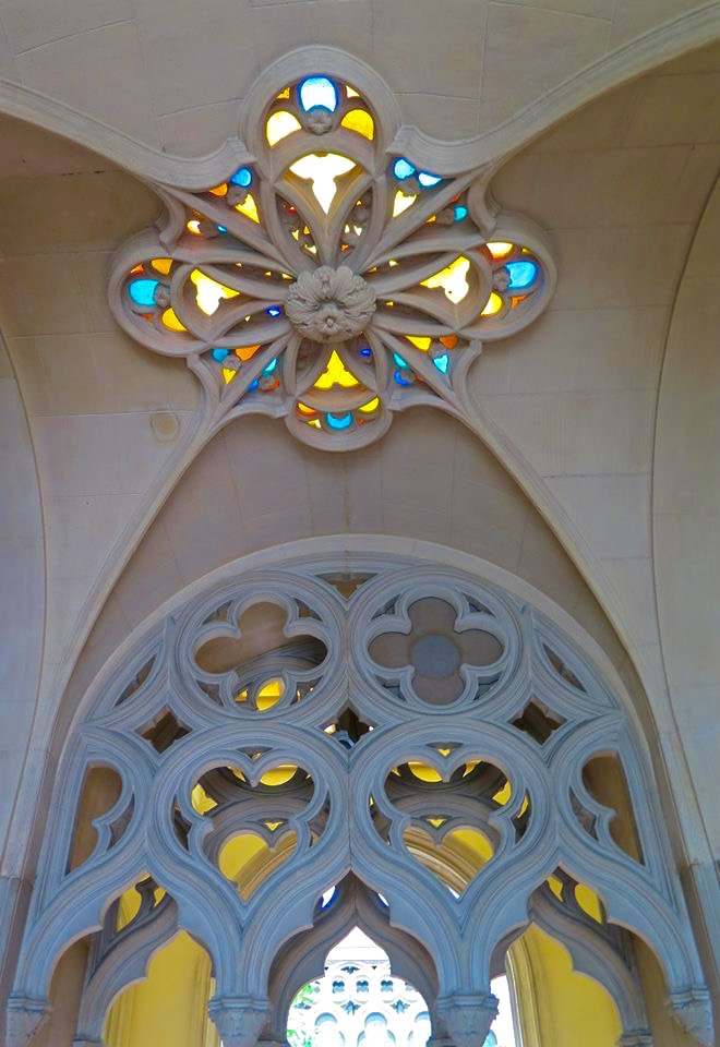 Gorgeous stained glass windows abound and set the impressive urn rooms alight with brilliant color.