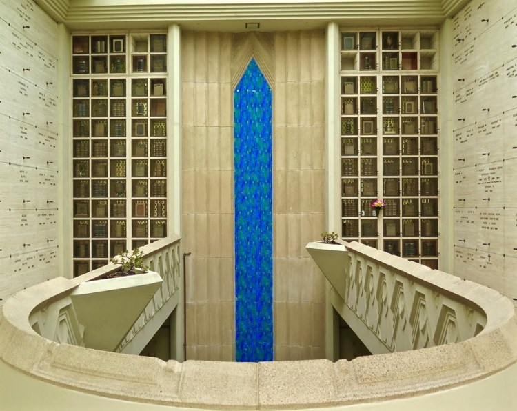 In 1959, Aaron Green (a student of Frank Lloyd Wright) added the mausoleum behind the columbarium, allowing for full body interment.