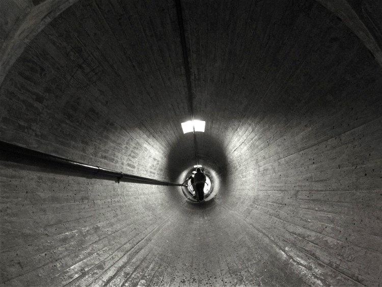 Tunnel in the middle of the dam wall.