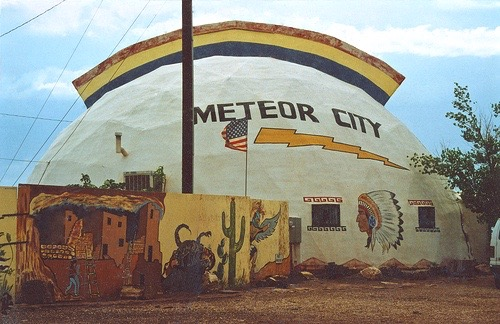 In Route 66's heyday, there were six trading posts in the 43 miles between Winona and Winslow, AZ. They were Twin Arrows, Toonerville, Two Guns, Rimmy Jim's, Meteor City, and Hopi House. As the venerable old road faded they all closed.