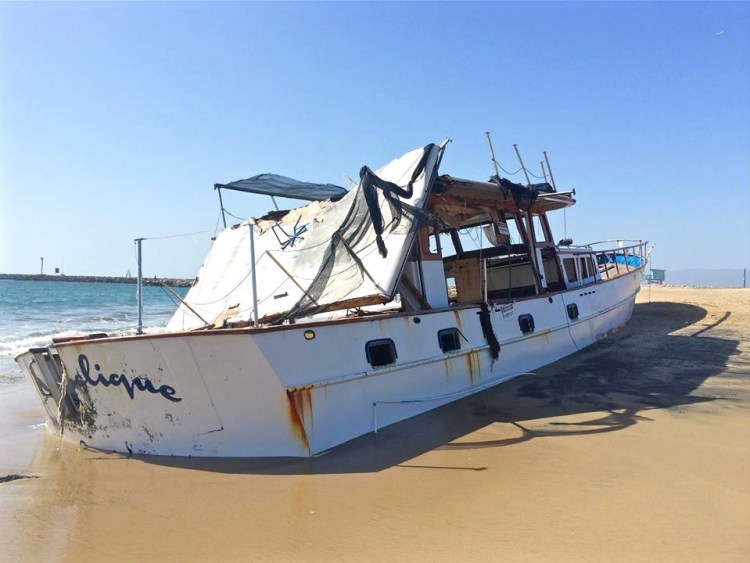 The 70 or 75 foot steel boat came ashore about 4:30 a.m. Feb. 27 after the first of two storms hit Southern California.
