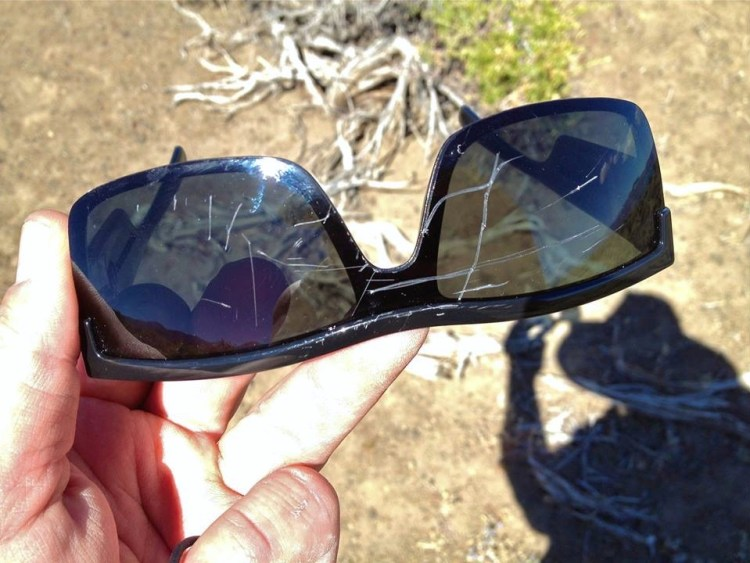 ...and this is what happened to my glasses as I squeezed through it.