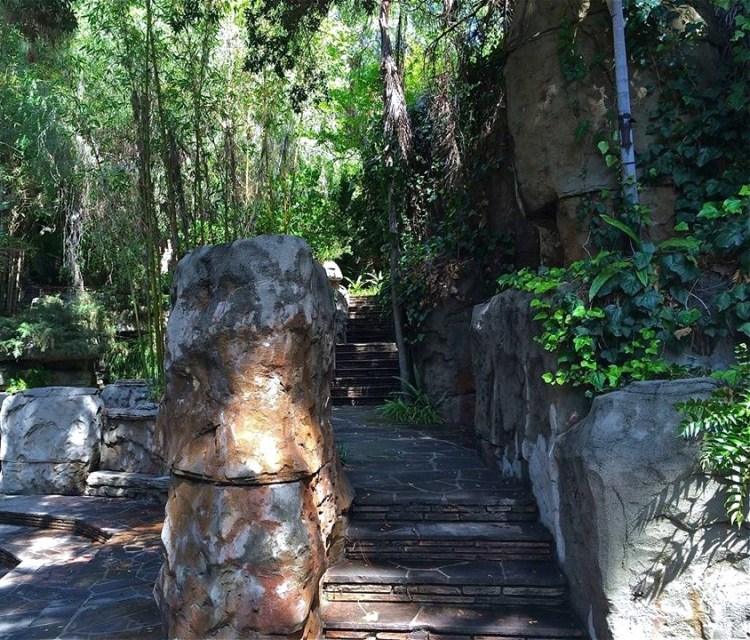 Located near the shooting range and behind the cafe, the rock garden has seemingly endless maze-like levels, multiple waterfalls, several ponds and many hidden seating areas.
