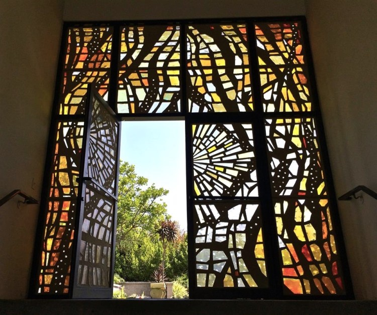 There's lots of beautiful stained glass works throughout the grounds.
