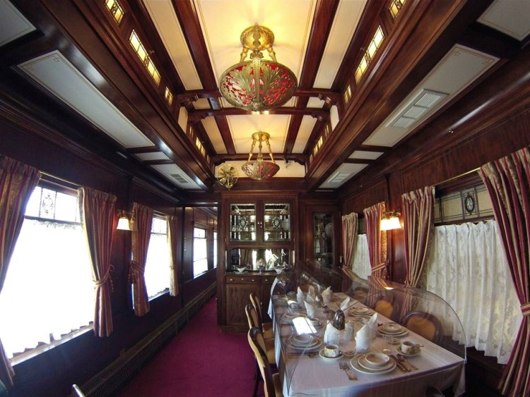 "Inside the private car custom built by Pullman in Chicago, Illinois for Clara Baldwin Stocker the eldest Daughter of local Pioneer ""Lucky"" Baldwin. This railcar has been beautifully restored back to its 1912 glory days."