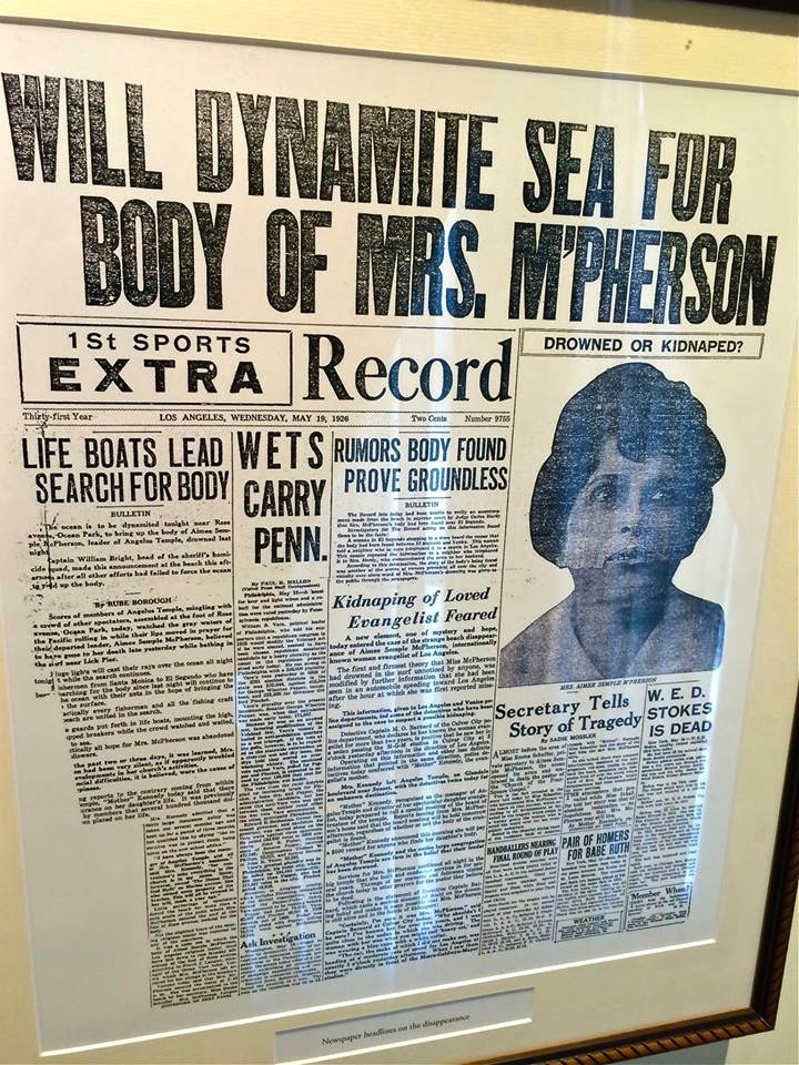 On May 18, 1926, McPherson went with her secretary to Ocean Park Beach north of Venice Beach to swim. Soon after arriving, McPherson was nowhere to be found. It was thought she had drowned.