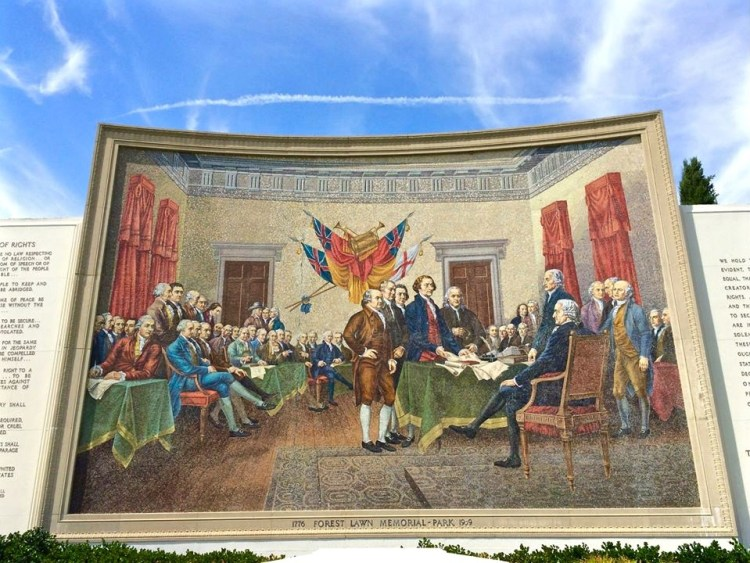 A huge mosaic of the signing of the Declaration of Independence.