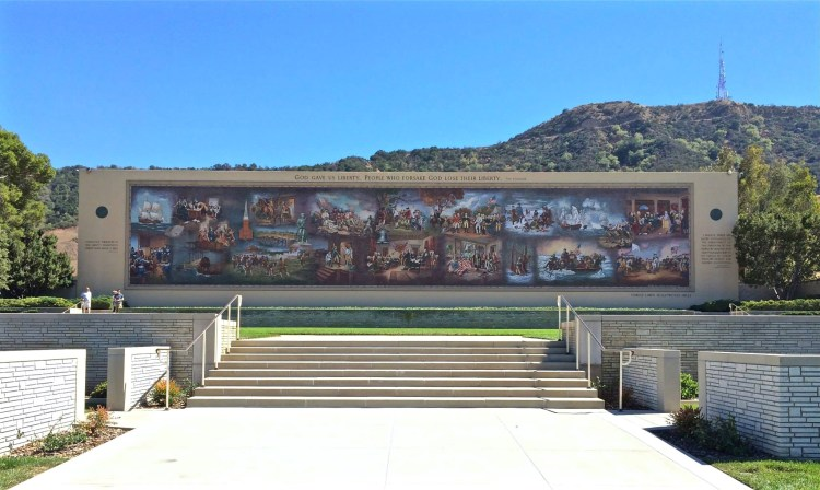 """""""Birth of Liberty"""" mosaic. At 162 feet long and 28 feet high, Birth of Liberty is the largest historical mosaic in the United States. It is composed of ten million pieces of Venetian glass and depicts twenty-five scenes from early America, from 1619-1787."""