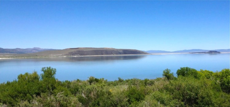 Just off the north shore of Mono Lake lies the volcano Black Point, a low, mesa-like mountain of black ash.
