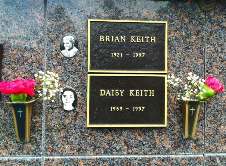 "Brian Keith (1921-1997), best known today for his role as the gruff-but-lovable 'Uncle Bill' on the popular 60's TV sitcom ""Family Affair,"". He is buried above his daughter, Daisy Keith, an actress who appeared with her father in the short-lived TV series, ""Heartland,"" back in 1989. Daisy killed herself in May of 1997. Brian Keith, suffering from lung cancer & emphysema, shot himself at his Malibu home one month later. Tag PhotoAdd LocationEdit"